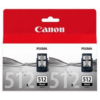 Canon PG-512 Twin Pack Black Ink Cartridge